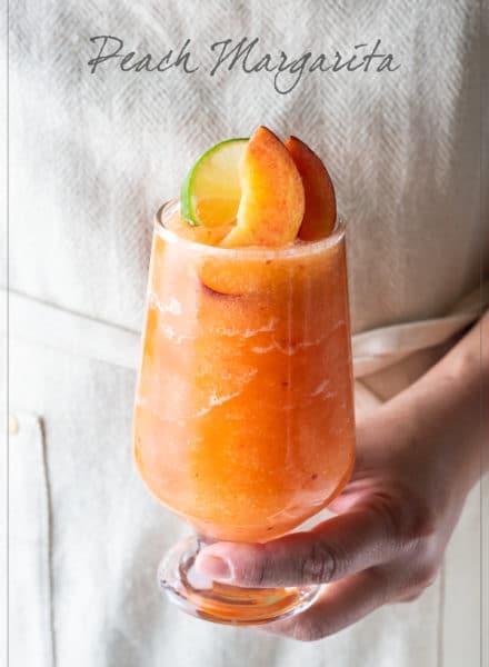 Frozen Peach Margaritas Recipe or Blended Peach Cocktails Recipe   WhiteOnRiceCouple.com
