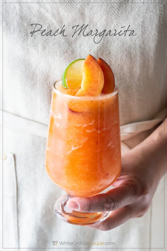 Frozen Peach Margaritas Recipe or Blended Peach Cocktails Recipe | WhiteOnRiceCouple.com