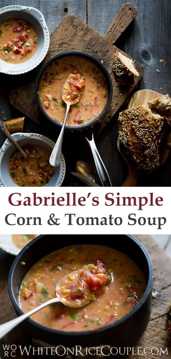 Quick, Easy Creamed Corn and Tomato Soup Recipe | @whiteonrice
