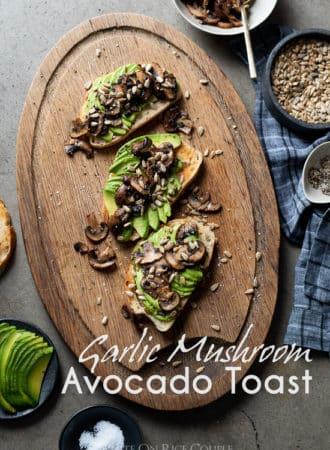 Garlic Mushroom Avocado Toast Recipe @whiteonrice