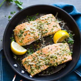 Healthy Garlic Parmesan Salmon Recipe Oven Baked | @whiteonrice