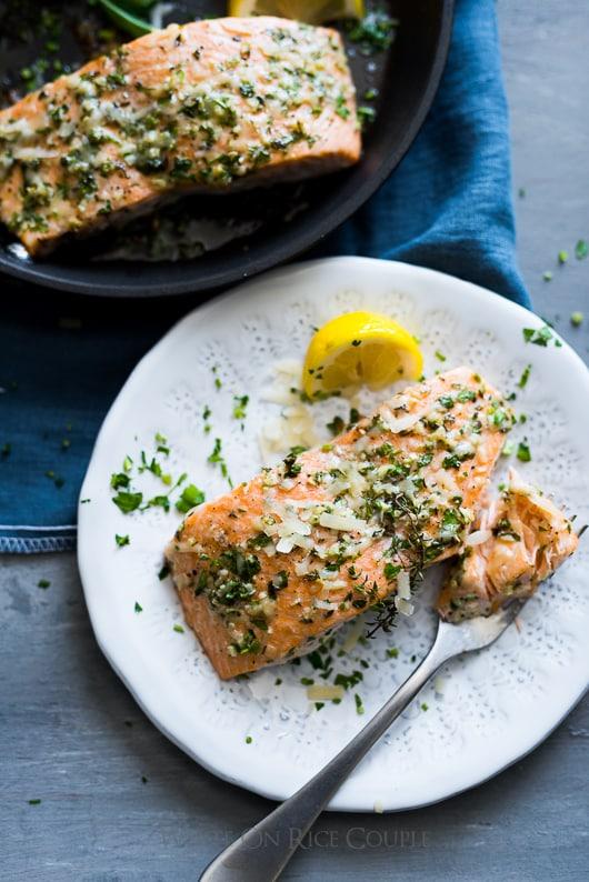 Healthy Garlic Parmesan Salmon on a plate