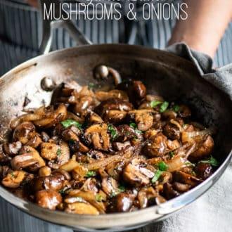 Garlic mushrooms recipe in garlic butter with onions | @whiteonrice