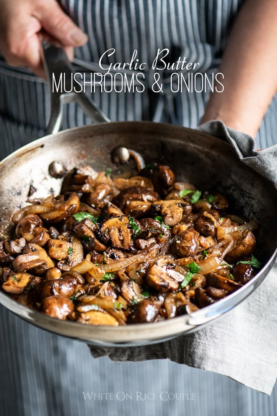 Garlic mushrooms recipe in garlic butter with onions in a skillet