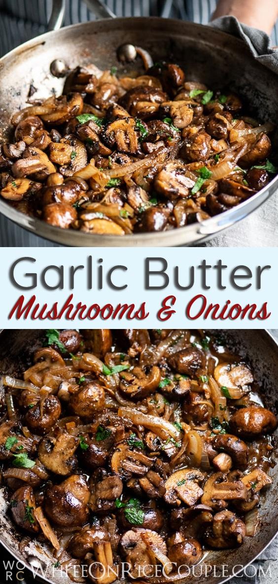 Garlic Butter Mushrooms Recipe with white wine | @whiteonrice