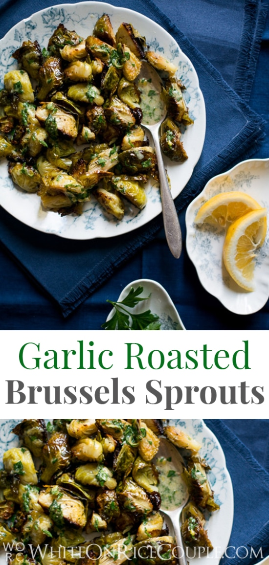 Roasted Brussels Sprouts Recipe with Lemon Mustard Parsley Dressing on WhiteOnRiceCouple.com