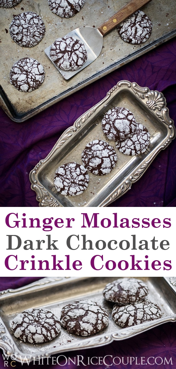 Ginger Molasses Dark Chocolate Crinkle Cookies on WhiteOnRiceCouple.com