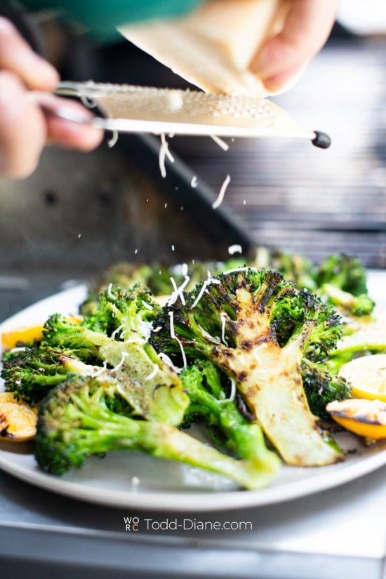 Grilled Broccoli recipe on plate with cheese