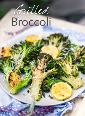Grilled broccoli recipe on plate
