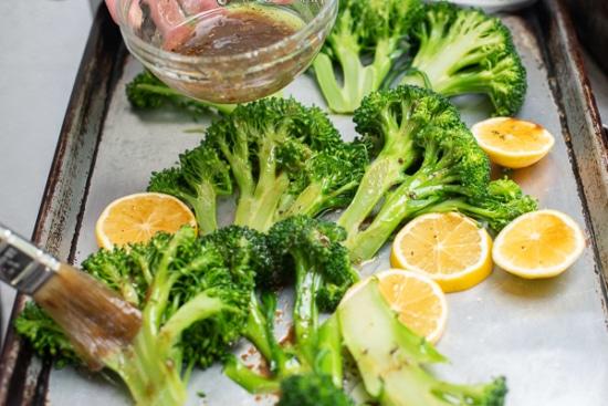 Marinade begin brushed on broccoli