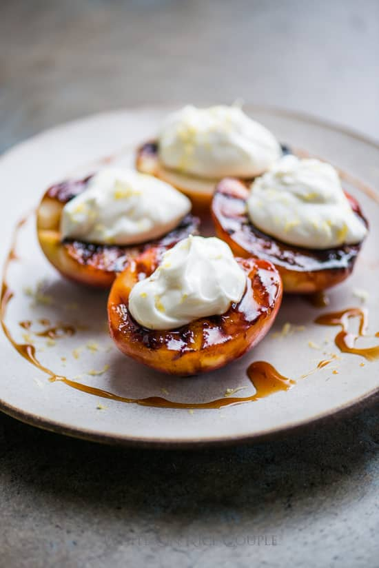 Grilled Peaches Recipe with Honey Balsamic Glaze | @whiteonrice