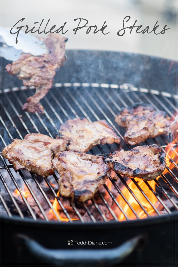Grilled Pork Steaks Recipe on BBQ with Asian Vietnamese Marinade on a grill