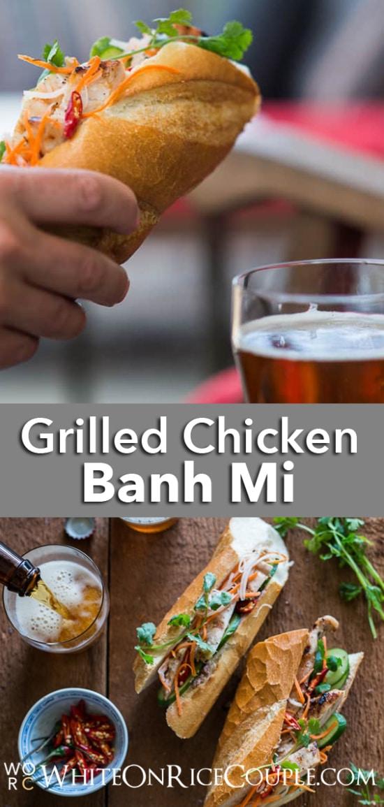 Grilled Chicken Vietnamese Banh Mi Recipe | WhiteOnRicecouple.com