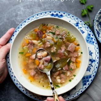 Easy Ham and White Bean Soup Recipe on Stove Top | WhiteOnRiceCouple.com