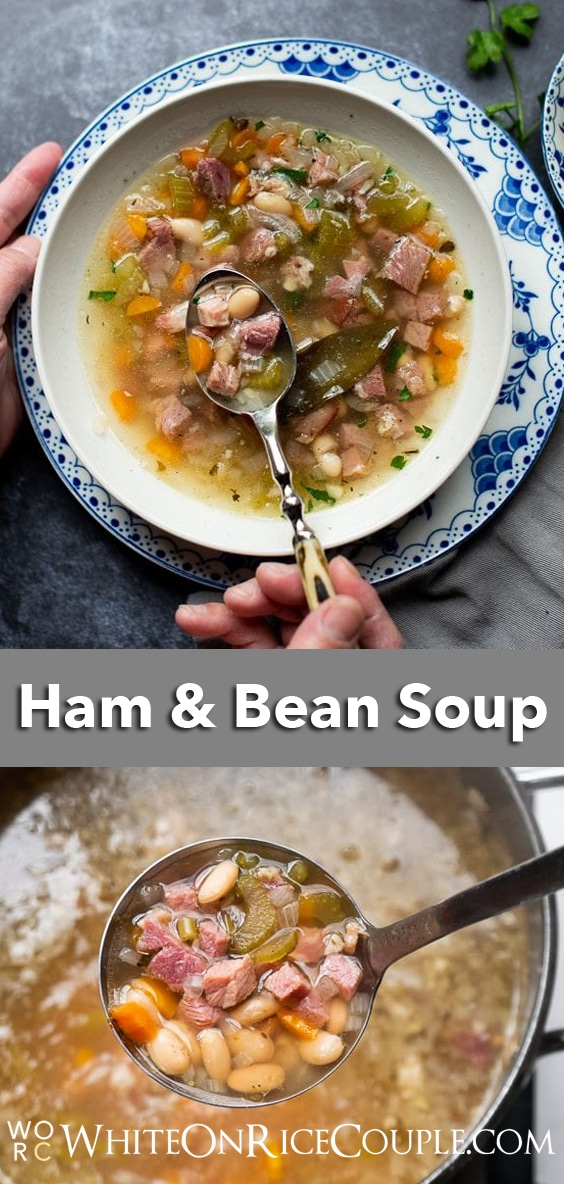 stove top white bean and ham soup recipe on WhiteOnRiceCouple.com