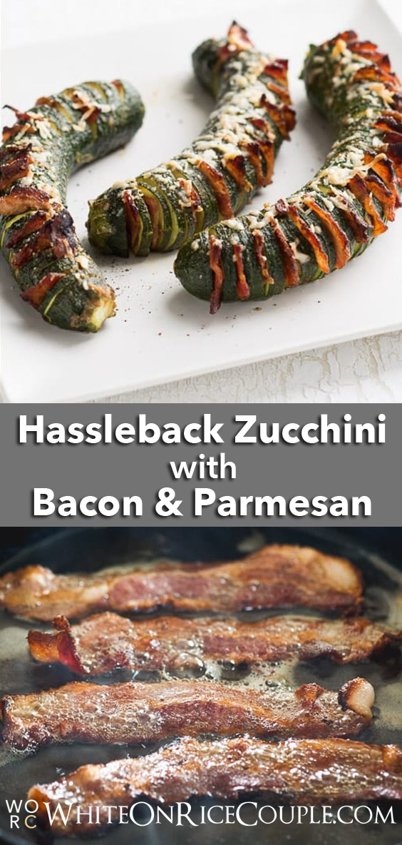 Hasselback Zucchini with Bacon & Parmesan is the perfect vegetable side dish recipe | @whiteonrice