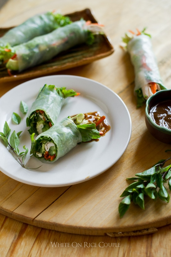 healthy turkey spring rolls recipe or turkey summer rolls @whiteonrice
