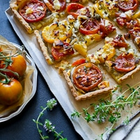 Thumbnail image for Heirloom Tomato Tart with Pesto and Goat Cheese