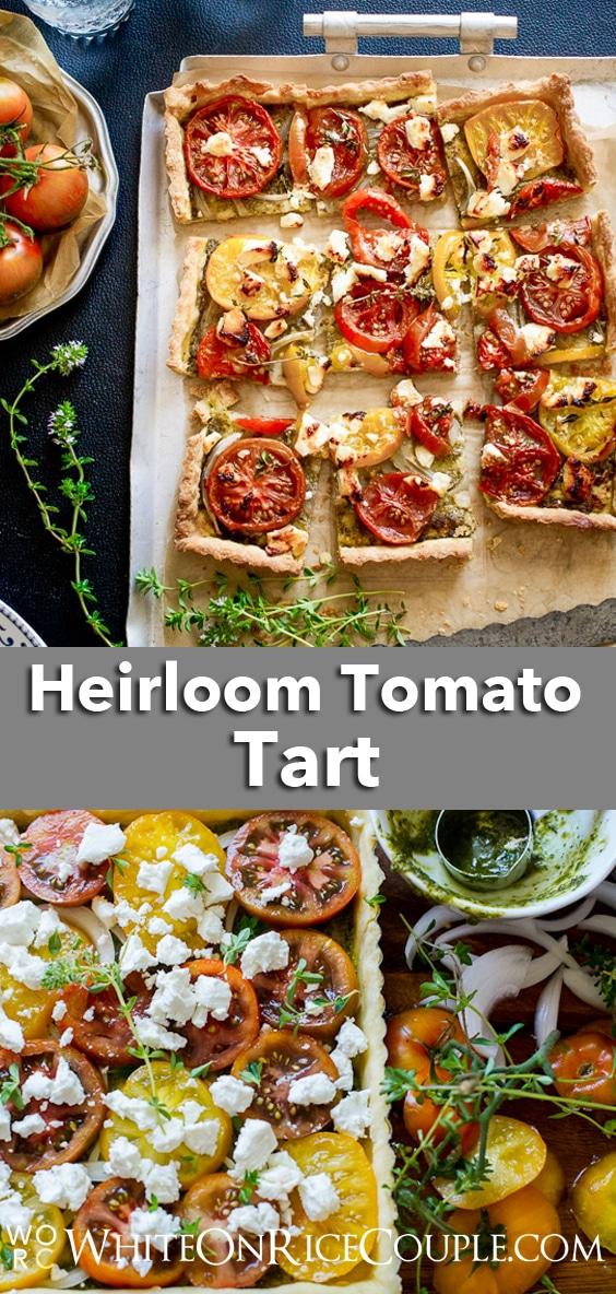 Fresh Pesto Tomato Tart Recipe by WhiteOnRicecouple.com