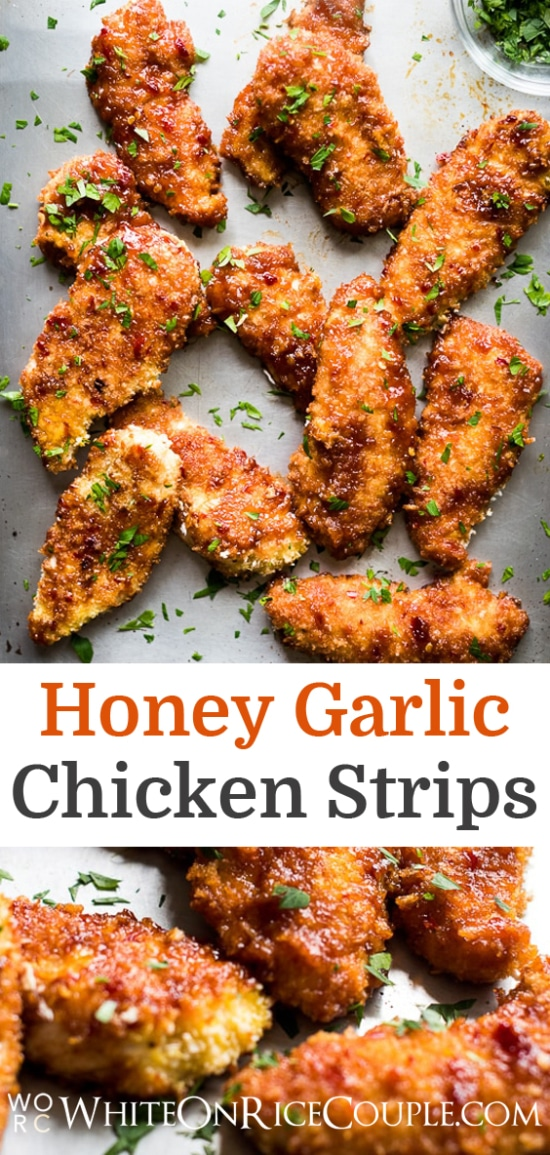 Sweet and sticky honey soy sauce chicken tenders recipe on @whiteonrice