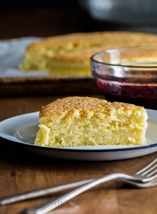 Fluffy and Soft Japanese Cotton Cheesecake slice on a plate
