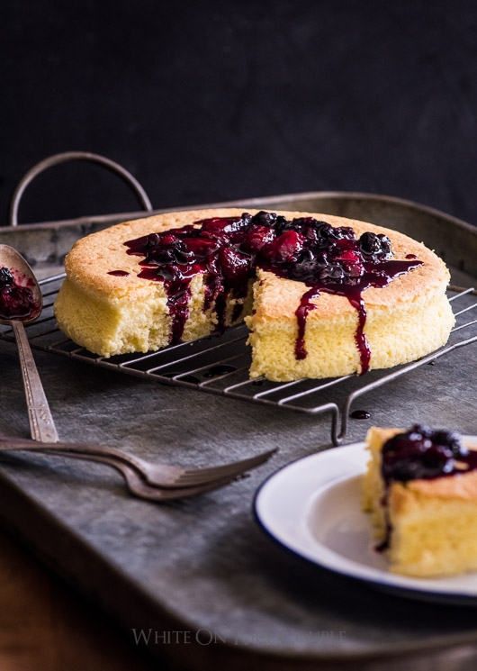 Fluffy and Soft Japanese Cotton Cheesecake on a cooling rack