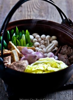 Japanese Hot Pot Recipe or Beef Sukyaki Recipe @whiteonrice
