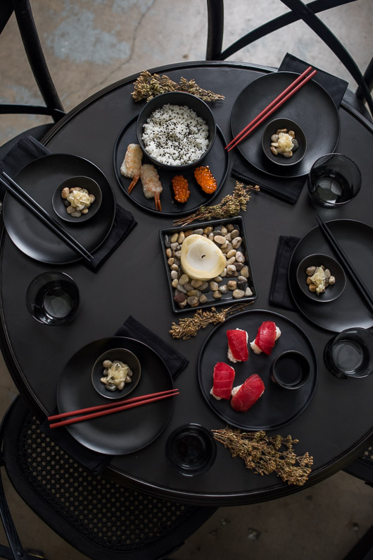 Stylish Black Table Setting with Black Dishes | @whiteonrice