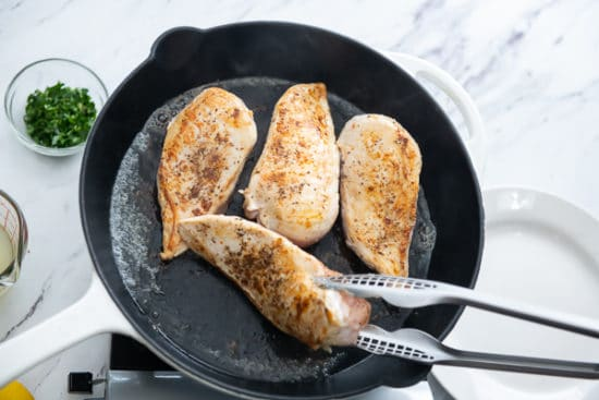Searing the chicken