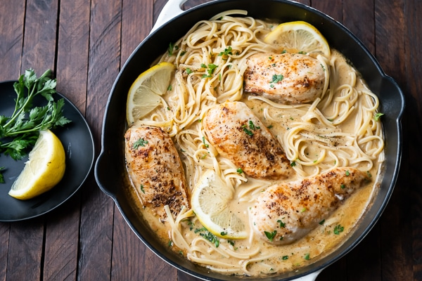Chicken served with pasta