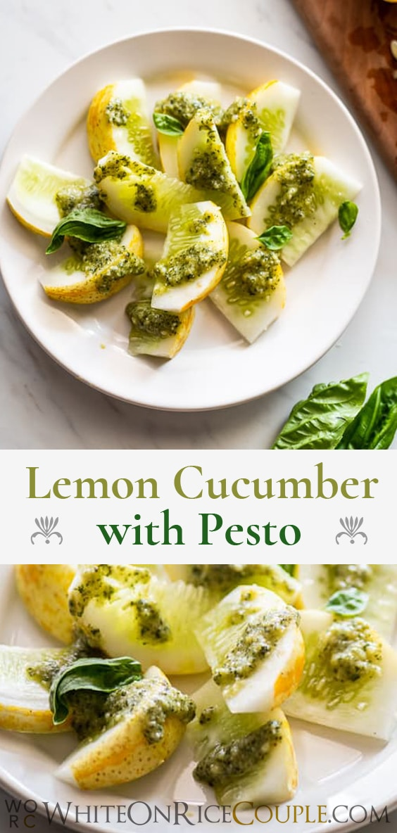 Lemon Cucumber Recipe with Pesto Recipe | @whiteonrice