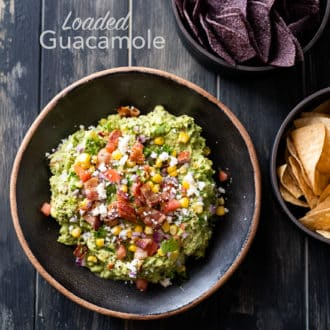 Loaded Guacamole Recipe with Bacon for Game Day or Super Bowl Guacamole | @whiteonrice