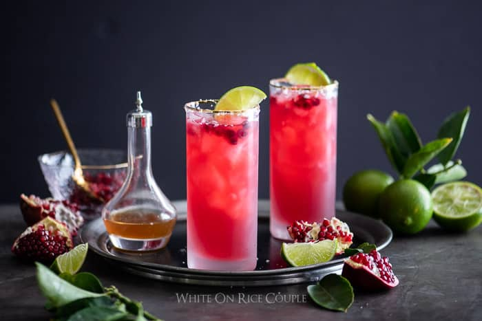 Pomegranate Margarita in salted rim glass