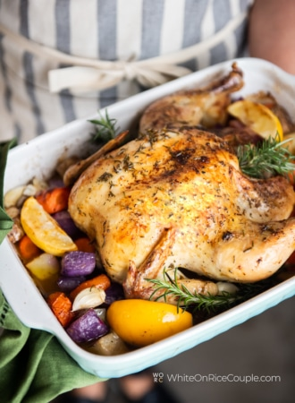Meyer Lemon Rosemary Roast Chicken Recipe | WhiteOnRicecouple.com