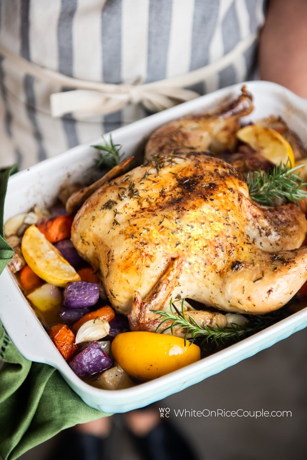 Lemon Roasted Chicken Recipe With Rosemary Herbs White On Rice