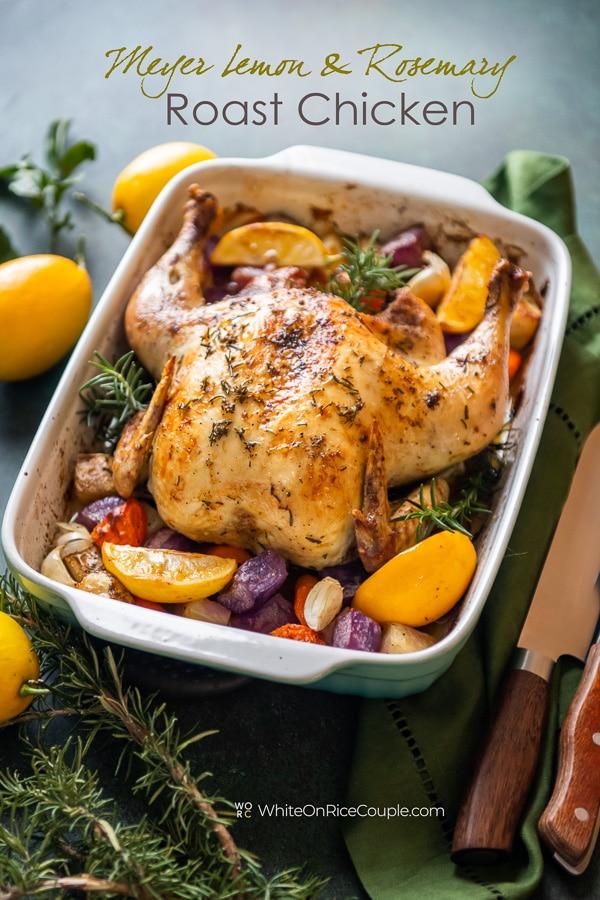 Meyer Lemon Rosemary Roast Chicken in a baking dish
