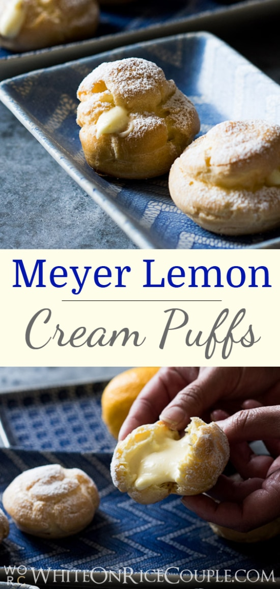 Cream Puffs with Fluffy Creamed Meyer Lemon Curd Recipe on @whiteonrice