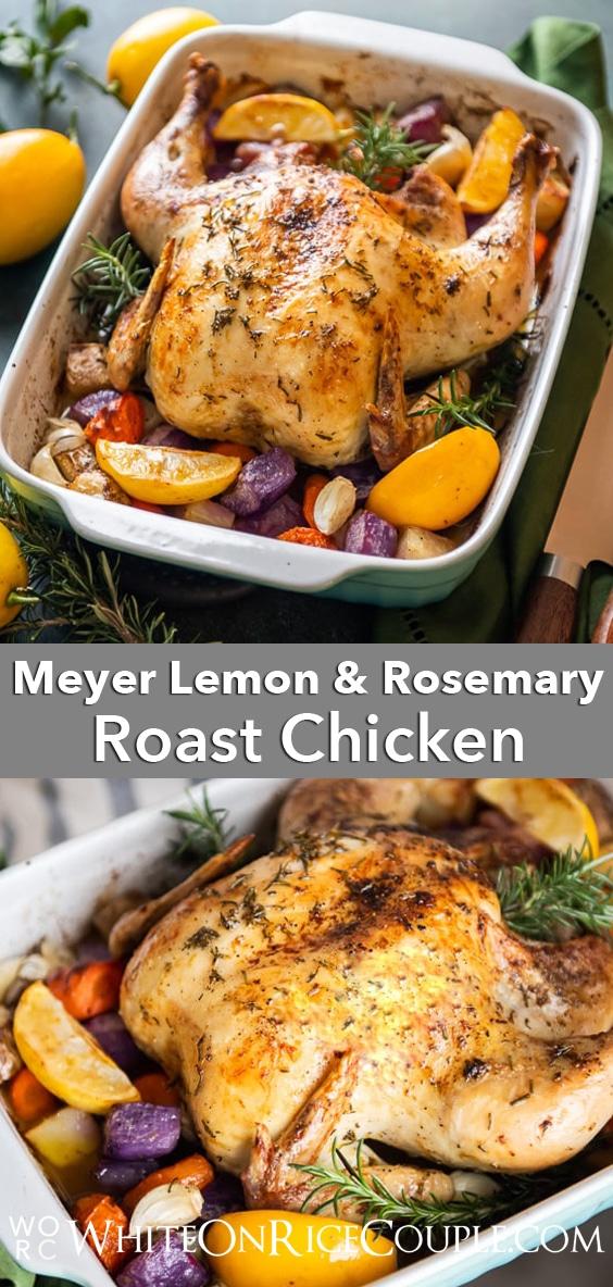 Lemon herb roast chicken recipe with fresh herbs and lemon | WhiteOnRiceCouple.com
