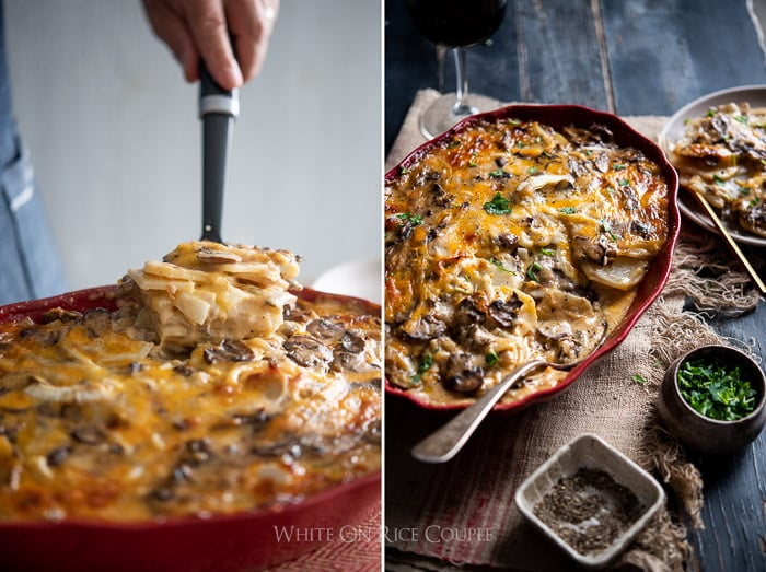 Mushroom Gravy Scalloped Potatoes Recipe | @whiteonrice