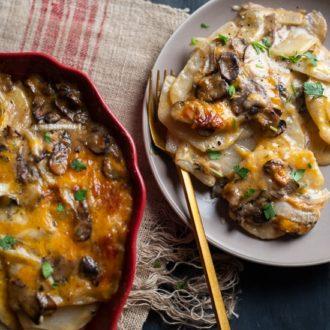 Mushroom Gravy Scalloped Potatoes Recipe | @whiteonrice