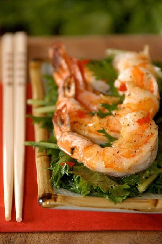 shrimp salad mizuna mustard on plate