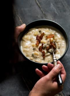 New England Clam Chowder Recipe on WhiteOnRiceCouple.com and @whiteonrice