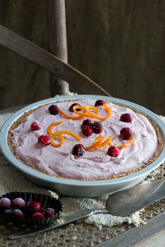 No Bake Fluffy Cranberry Cream Cheese Pie on @whiteonrice
