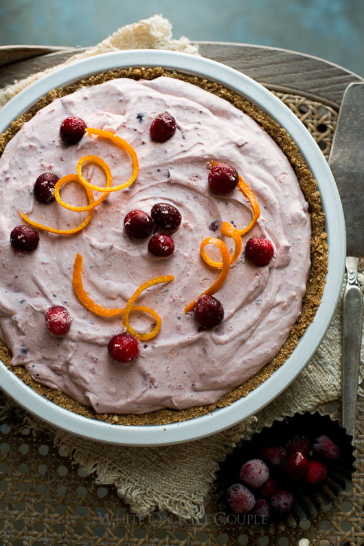 No Bake Cranberry Pie in a pie tin top view