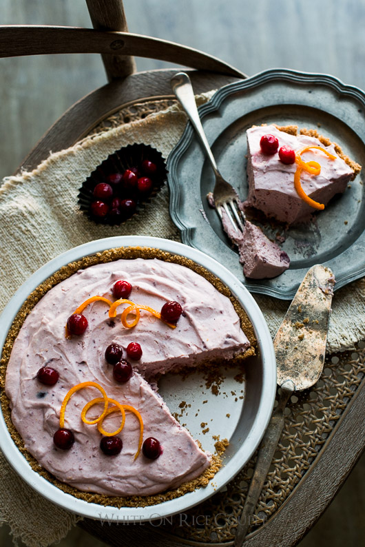 No Bake Cranberry Pie Recipe and Holiday No Bake Fluffy Cranberry Cream Cheese Pie on @whiteonrice