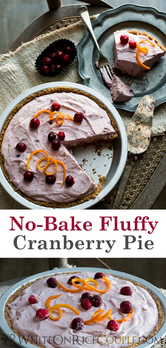 No Bake Fluffy Cranberry Cream Cheese Pie on @whiteonrice