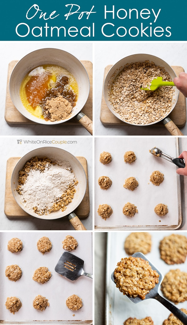 One Pot Honey Oatmeal Cookies Recipe step by step photos