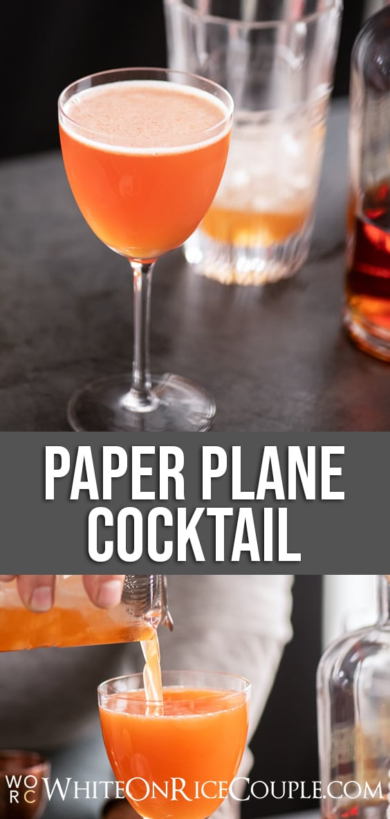 Paper Plane Cocktail Recipe with Bourbon | WhiteOnRiceCouple.com