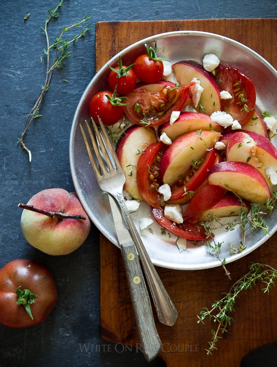 Peach Heirloom tomato Salad recipe for Summer | @whiteonrice