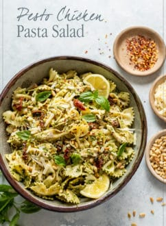 Easy Pesto chicken pasta salad recipe| whiteonricecouple.com